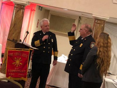 November 27, 2018 President, Hebron Chief Nick WALLICK and V/P, Bolton Chief Bruce DIXON were sworn in as their new term starts. South Windsor Chief, Kevin Cooney was presented the Past President Award. Congrats to all the new Officers!